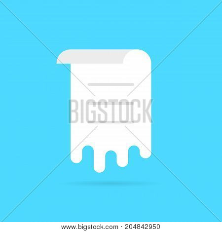 white melt sheet with list. concept of memo, work flow, vote, ui, rolled menu, doc template, notice, schedule, post. flat style trend modern logo graphic design vector illustration on blue background