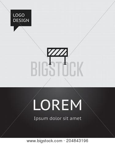 Vector Illustration Of Building Symbol On Roadblock Icon