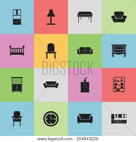 Set Of 16 Editable Interior Icons. Includes Symbols Such As Bookshelf, Davenport, Cooking Furnishings And More