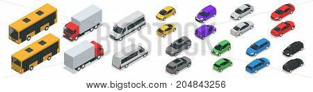 Flat isometric high quality city transport car icon set. Car, van, cargo truck, off-road, bike, mini, sport car Transport set. Set of urban public and freight transport for infographics