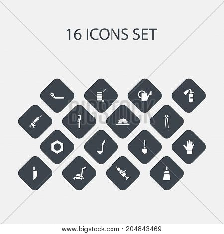 Set Of 16 Editable Equipment Icons. Includes Symbols Such As Circle Spanner, Spanner, Pincers And More