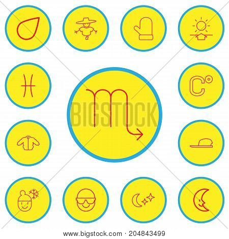 Set Of 13 Editable Climate Outline Icons. Includes Symbols Such As Bugbear, Raindrop, Glove And More