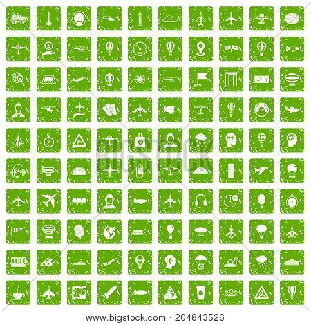 100 aviation icons set in grunge style green color isolated on white background vector illustration