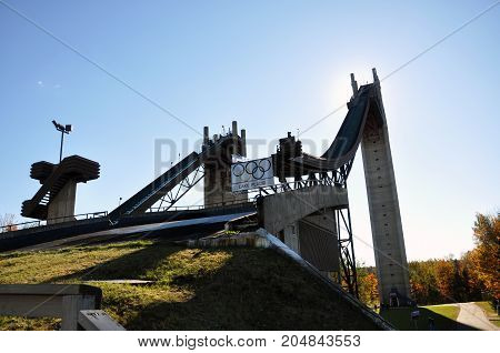 LAKE PLACID, NY, USA - OCT. 3, 2010: Ski Jump in Lake Placid Olympic Jumping Complex, New York State, USA. Lake Placid hosted 1932 and 1980 Winter Olympic Games.