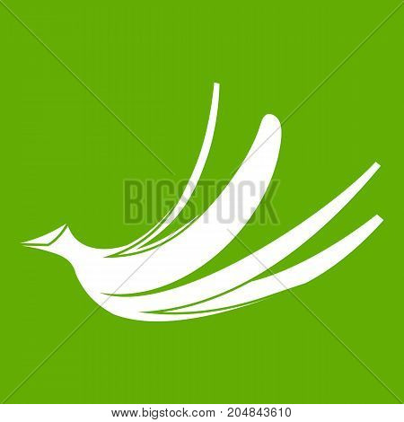 Banana peel icon white isolated on green background. Vector illustration