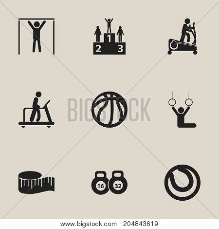 Set Of 9 Editable Healthy Icons. Includes Symbols Such As Cloth Ruler, Basket Play, Executing Running And More