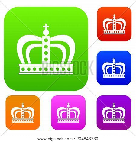 Monarchy crown set icon color in flat style isolated on white. Collection sings vector illustration