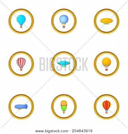 Vintage balloon icons set. Cartoon style set of 9 vintage balloon vector icons for web design