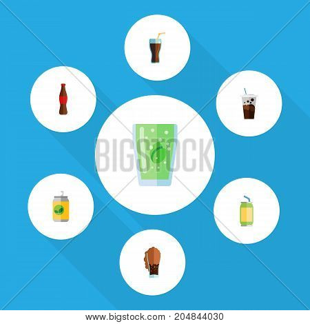 Flat Icon Beverage Set Of Juice, Fizzy Drink, Carbonated And Other Vector Objects