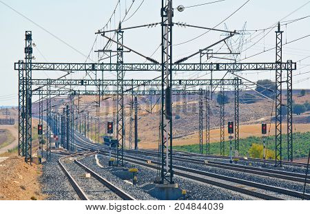 Train railway high speed journey modern line angle