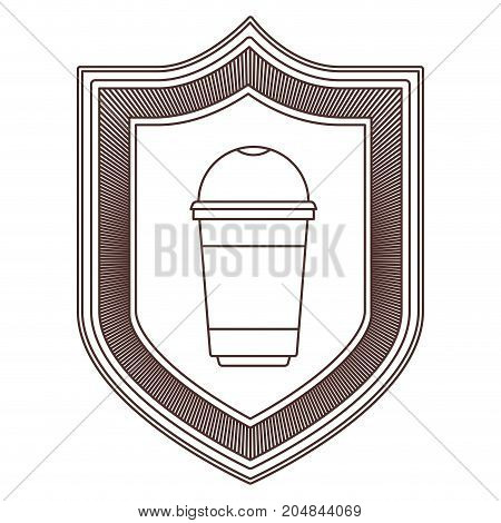 logo shield decorative of glass disposable for hot drinks striped brown silhouette on white background vector illustration