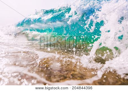 Blue wave in ocean. Clear wave and splash