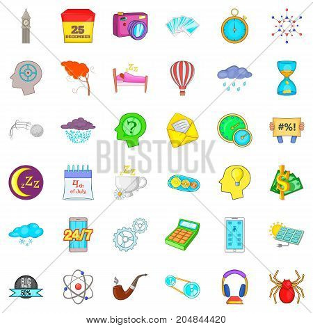 Screen icons set. Cartoon style of 36 screen vector icons for web isolated on white background