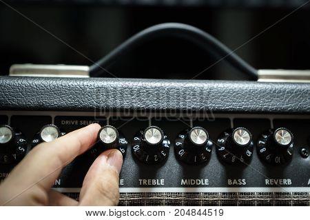 guitar amp closeup for rock music studio production