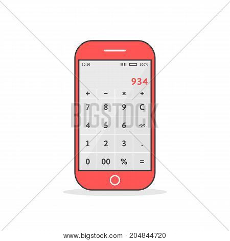 red phone with calculator app. concept of ui, tax calculation, math smart gadget, ios gui, calculate equipment economy, reckoner. flat style trend modern design vector illustration on white background