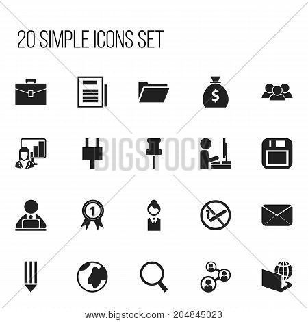 Set Of 20 Editable Office Icons. Includes Symbols Such As Loupe, Staff, Workman In Laptop And More