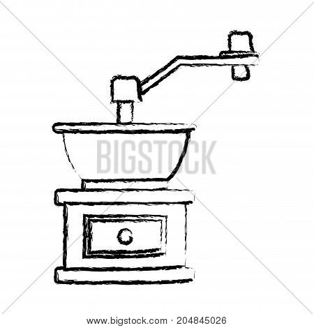 coffee grinding with crank monochrome blurred silhouette vector illustration