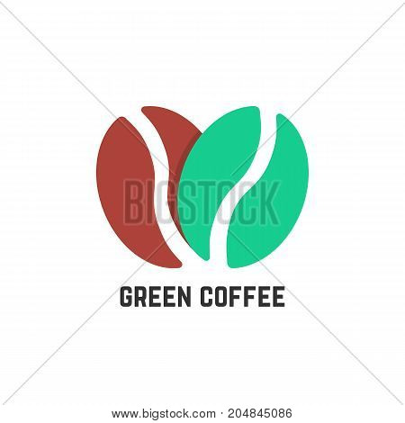 green coffee logo like beans. concept of stylized coffeehouse, mocha, energetic, americano, tasty, beverage, healthy diet. flat style trend modern logo design vector illustration on white background