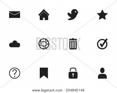 Set Of 12 Editable Web Icons. Includes Symbols Such As Sky, Tag, Security And More