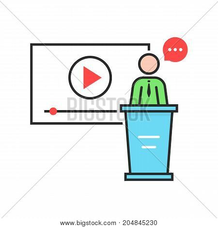 video seminar with spokesman. concept of class, tablet, leader, personal tutor, teamwork, university, presentation, orator. flat style trend modern logo design vector illustration on white background