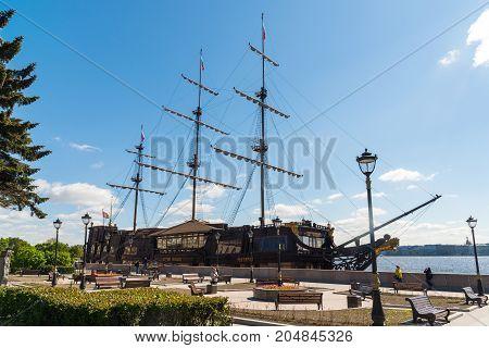St. Petersburg, Russia - June 04.2017 Restaurant in sailboat Flying Dutchman