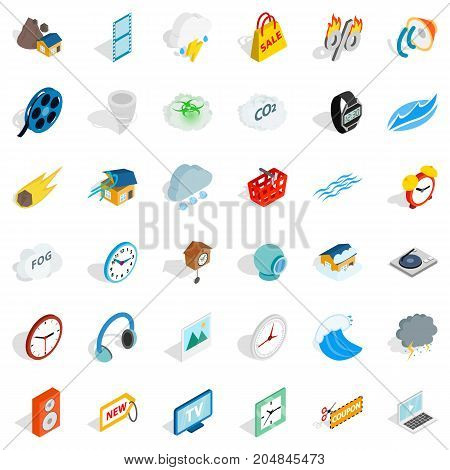 Headphones icons set. Isometric style of 36 headphones vector icons for web isolated on white background