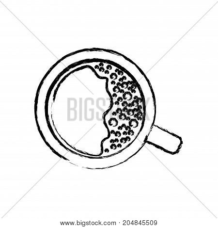top view cup of coffee monochrome blurred silhouette vector illustration