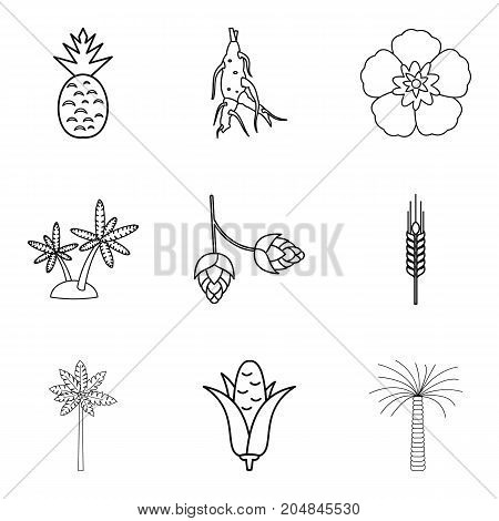 Selection of vegetable icons set. Outline set of 9 selection of vegetable vector icons for web isolated on white background