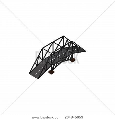 Expressway Vector Element Can Be Used For Bridge, Suspension, Highway Design Concept.  Isolated Suspension Isometric.