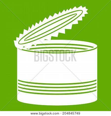 Open tin can icon white isolated on green background. Vector illustration