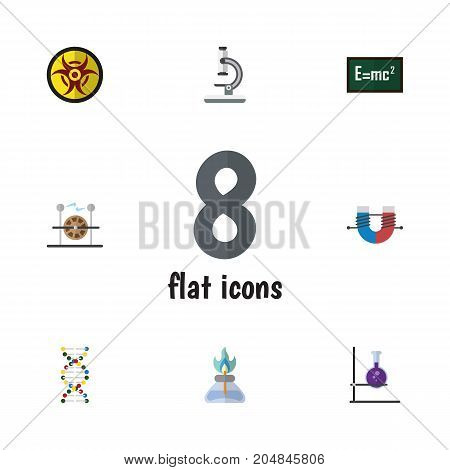 Flat Icon Science Set Of Theory Of Relativity, Electrical Engine, Flame And Other Vector Objects