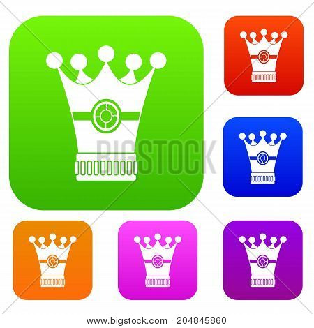 Medieval crown set icon color in flat style isolated on white. Collection sings vector illustration