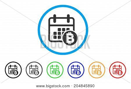 Bitcoin Calendar rounded icon. Style is a flat bitcoin calendar gray symbol inside light blue circle with black, gray, green, blue, red, orange color versions.