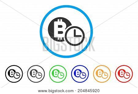 Bitcoin Credit Clock rounded icon. Style is a flat bitcoin credit clock gray symbol inside light blue circle with black, gray, green, blue, red, orange variants.