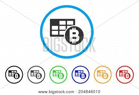 Bitcoin Table rounded icon. Style is a flat bitcoin table grey symbol inside light blue circle with black, gray, green, blue, red, orange variants. Vector designed for web and software interfaces.