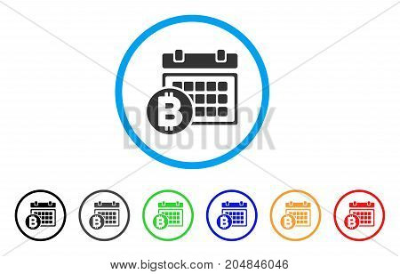 Bitcoin Table rounded icon. Style is a flat bitcoin table gray symbol inside light blue circle with black, gray, green, blue, red, orange variants. Vector designed for web and software interfaces.