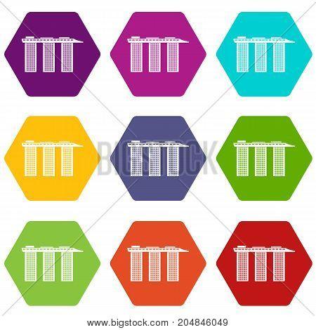 Marina Bay Sands Hotel, Singapore icon set many color hexahedron isolated on white vector illustration