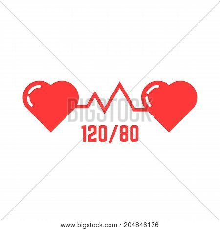 simple blood pressure icon. concept of abstract ecg, indicator, measure, systolic, love, tonometer emblem, disease. flat style trend modern red logotype design vector illustration on white background