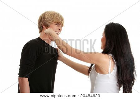 Man and woman conflict.Home violence concept. Isolated on white