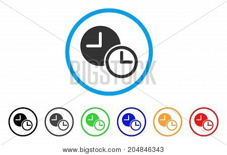 Clocks rounded icon. Style is a flat clocks gray symbol inside light blue circle with black, gray, green, blue, red, orange color versions. Vector designed for web and software interfaces.