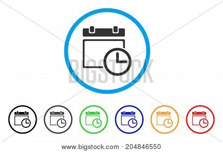 Date And Time rounded icon. Style is a flat date and time gray symbol inside light blue circle with black, gray, green, blue, red, orange variants. Vector designed for web and software interfaces.