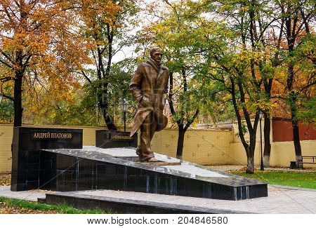 Voronezh Russia - October 16 2011: Monument to the Russian writer Andrei Platonov in Voronezh