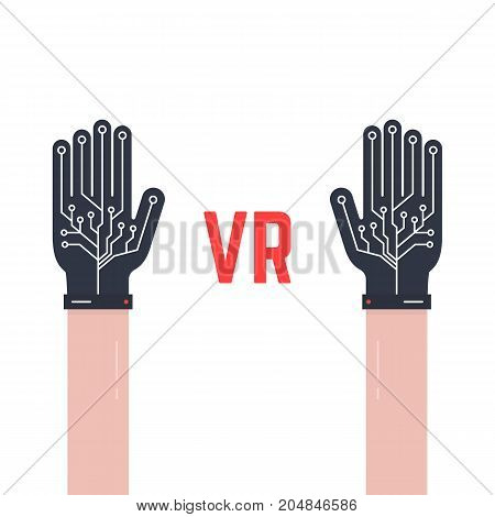 two hands thin with vr gloves. concept of fiction ar, vr layout, data ui, smart palm, geek arm equipment, input device. flat style trend modern graphic design vector illustration on white background