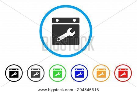 Date Options rounded icon. Style is a flat date options gray symbol inside light blue circle with black, gray, green, blue, red, orange versions. Vector designed for web and software interfaces.