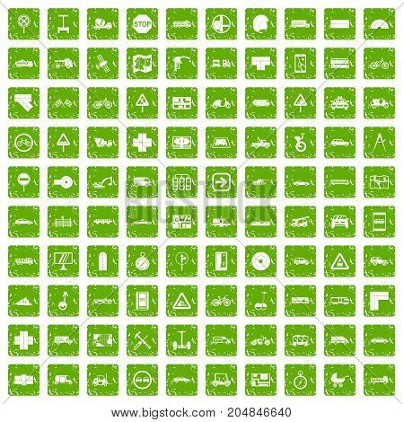 100 location icons set in grunge style green color isolated on white background vector illustration