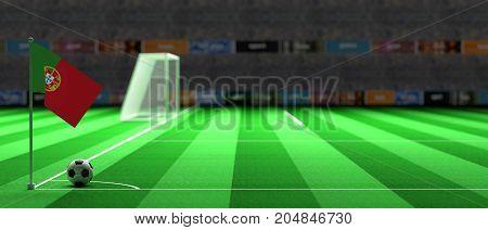 Portugal Flag On A Soccer Field. 3D Illustration