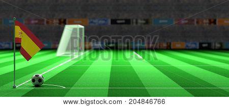 Spain Flag On A Soccer Field. 3D Illustration