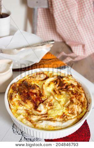 Traditional Bulgarian Pastry Banitsa With Greek Yogurt. Useful Breakfast. Rustic Style, Selective Fo