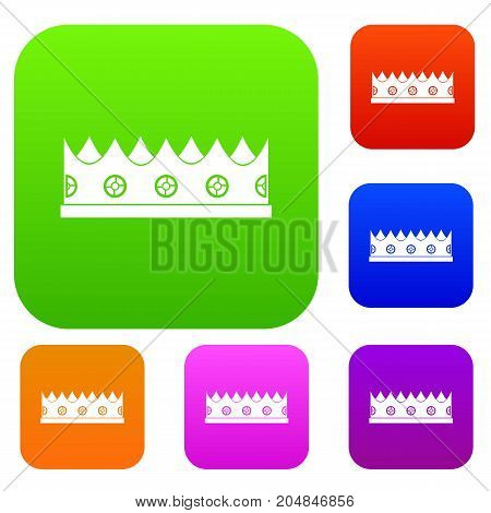 Little crown set icon color in flat style isolated on white. Collection sings vector illustration
