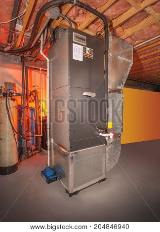 House forced hot air and air conditioning system in basement